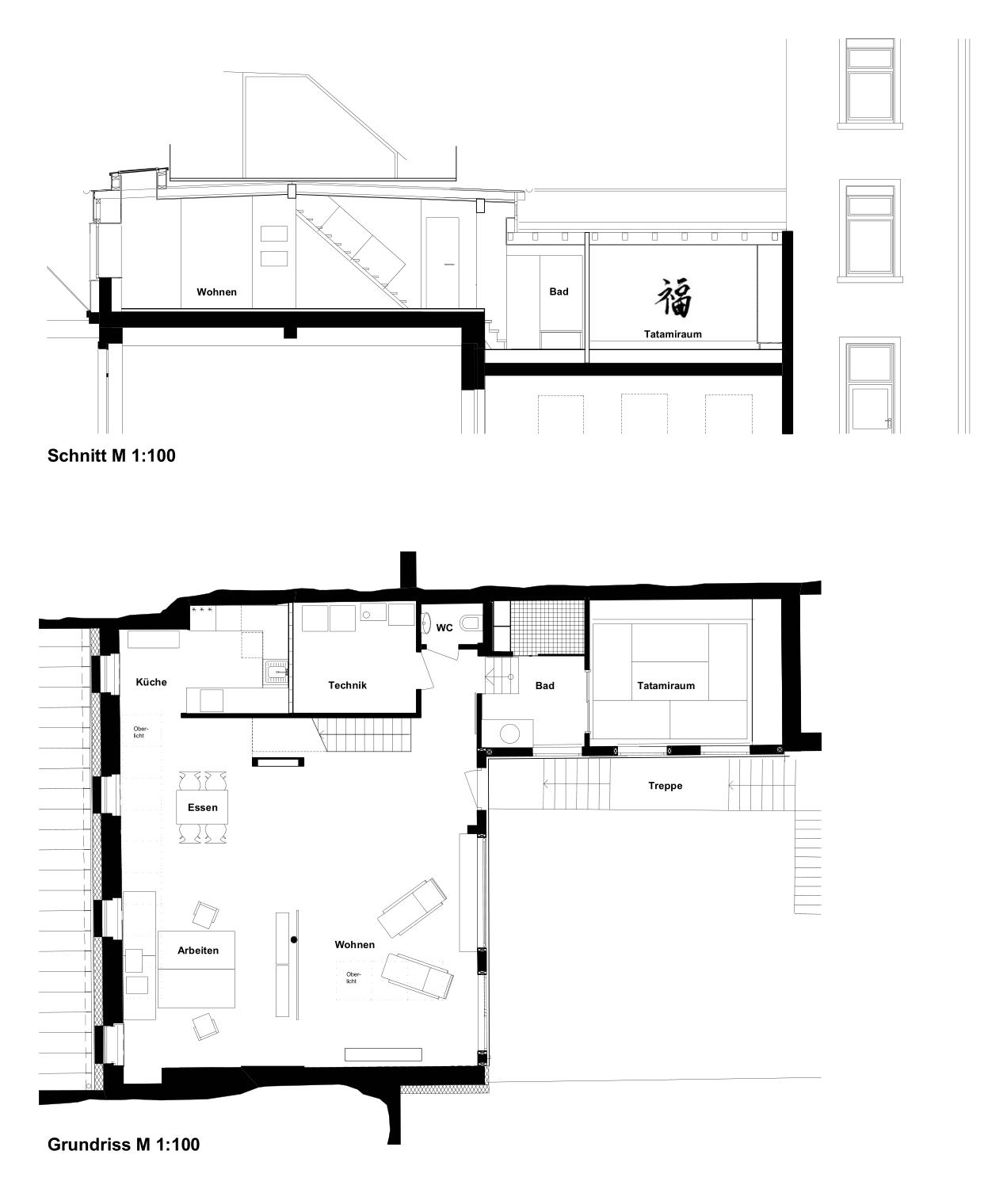 Loft Grundriss- und Aufrissplan