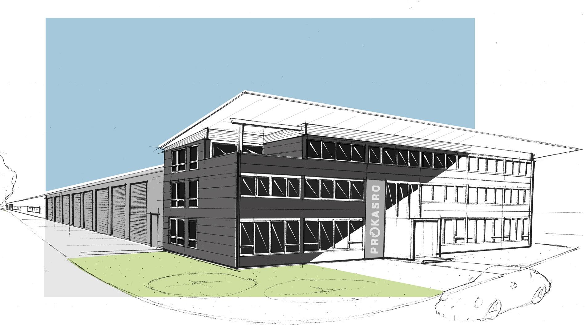 Architekt Industriehalle mit repräsentativem Verwaltungstrakt